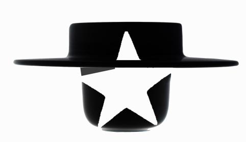 smalto bianco cappello nero
